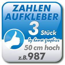 3 Zahlenaufkleber je 50 cm hoch, Klebezahlen für Ladetor, Garagentor, Deko Zahl
