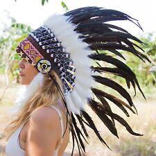 INDIAN HEADDRESS BLACK FEATHERS Chief War bonnet Costume Native American