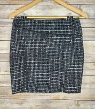 Bebe Women's Tweed Mini Skirt Black White Faux Leather Piping Size 4