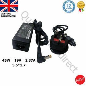 For Acer Laptop Charger Adapter  A13-045N2A 19V2.37A 45W 5.5x1.7mm + UK CORD
