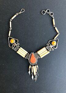 Orange Jasper Semi-precious Stone Bamboo Peruvian Anklet Ankle Bracelet