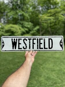 """Original / Vintage Street Sign Heavy Steel Painted 1960s """"WESTFIELD"""""""