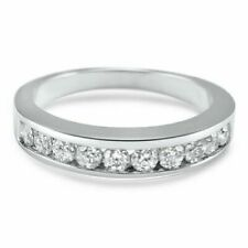 Round Cut Simulated Moissanite Wedding Band Channel set 14K white Gold Over