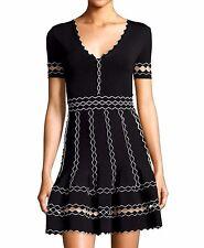 Alexander McQueen 3D Scallop Black Stretch Flare Dress US 2 4 / IT 38 40 / SMALL