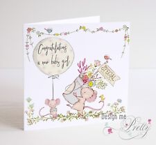 NEW BABY GIRL CARD - Congratulations Birth Granddaughter Sister Niece