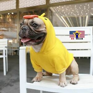 Yellow Duck Costume Dog Puppy Fleece Pet Cat Clothes Hoodie Bulldog Chihuahua