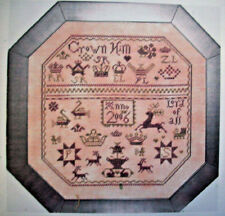 Red Stag deer Sampler cross stitch pattern Crown Him Lord of All