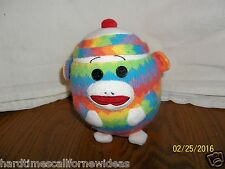 "Ty Beanie Ballz Zig Zag SOCK MONKEY Rainbow Ball Plush 5"""