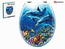 Dolphin Design WC Universal Toilet Seat Bathroom With Fitting Wooden MDF Easyfit