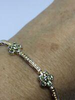 Vintage Peridot Bracelet 925 Sterling Silver Green Deco Design Genuine Stones