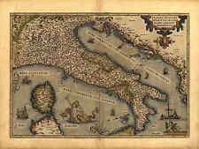 ORTELIUS ITALIA NORD SARDEGNA SICILIA CORSICA riproduzione antica mappa stampa