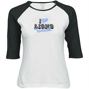 REEBOK I LOVE DETROIT LIONS FOOTBALL WOMENS 3/4 SLEEVE T SHIRT TOP LARGE LRG L