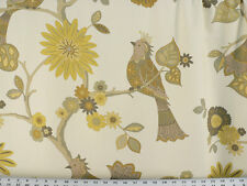 Drapery Upholstery Fabric Screen-Printed Birds on Woven Twill - Birdsong Yellow