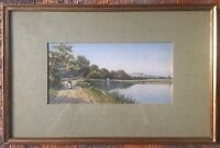 Antique Watercolour Painting Claude H Rowbotham 1895 Woman Lake Mounted Framed