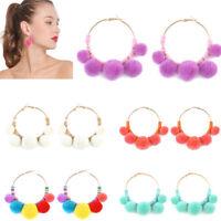 Fashion Women Boho Pom Pom Ball Tassel Hoop Ear Stud Dangle Drop Earring Jewelry