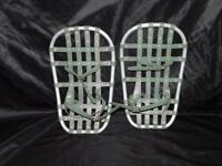 Vintage Bear Paw Snowshoes Green Vinyl Webbing Aluminum Youth Kids With Bindings