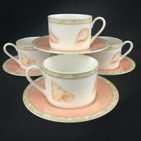 Set of 4 VTG Cups and Saucers Victoria and Beale Atlantis Peach Coral Sea Shells