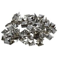 100PCS Pyramid Studs Rivets Spots Nickel Punk Bag Belt Leathercraft Silver N3
