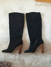 Black Real Suede Round Toe Knee High Boots Size 5