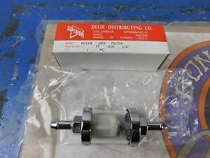 "NEW 1/4"" CLEAR CHROME FUEL FILTER HARLEY DAVIDSON & CUSTOM CHOPPERS FF 416"