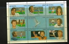 CRICKET STAMPS - Guyana 1993. 20th Century Famous Sports Persons. 9v sheet MUH