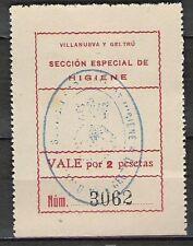 42-SELLO LOCAL  GUERRA CIVIL VAILLANUEVA I LA GELTRU 2 PESETAS.RARO