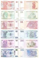 Congo 10 + 20 + 50 + 100 + 200 + 500 Francs Set of 6 Banknotes  6 PCS  UNC