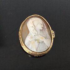 Broche CAMEE Madone Or 18 K Napoléon III XIXè Victorian Gold Shell Cameo 19thC
