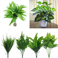 Indoor Artificial Green Foliage Leaf Plants Bush Vivid Home Garden Office Decor