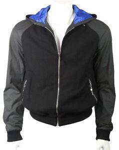 C'N'C (Costume National) contrast hooded bomber jacket black/blue
