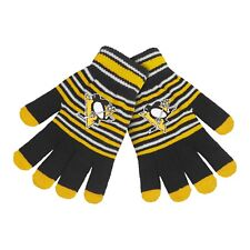 Pittsburgh Penguins Gloves Acrylic Stripe Knit Sports Logo Winter Texting Tips