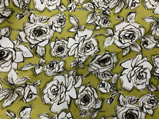 5 Metres khaki Abstract Roses Printed 100% Cotton Poplin Fabric