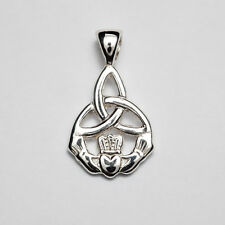 Sterling Silver Irish Handcrafted celtic small trinity/claddagh pendant P160