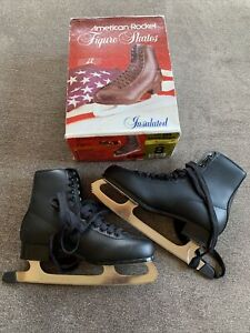 American Rocket Men's Tricot Lined Figure Skate Black Size 8 Style 552 New