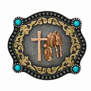 COWBOY'S PRAYER ~ Western Belt Buckle ~ Horse, Cross, Turquoise Nocona 37000