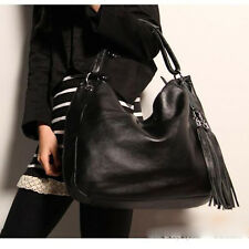 Womens Tassel Shoulder Bag Messenger Handbag Tote Satchel Leather Bag Black