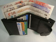 Gents Soft Leather Wallet Black with Coin Pocket and Credit Cards Sections