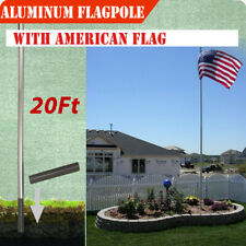 20 Ft Aluminum Ground Sectional Halyard Pole Free 3'x5' American Flag Outdoor