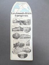Vintage BOOKMARK FRENCH Les Grands Hotels Europeens Paris Madrid Brussels Nice