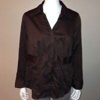 Lane Bryant Button Down Shirt Size 14/16 Womens Brown Blouse Top Stretch