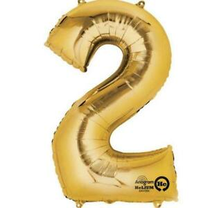 """NEW Gold Number 2 Balloon - 16"""" / 40 cm foil (each) Partyware Gifts School"""