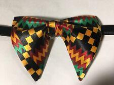 NEW Handmade Mens Bow Tie Satin African Print Kente Vintage 70s Style Black Mult