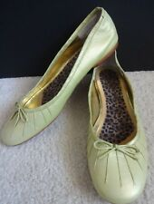 Nina Lime Green Leather Bow Ballet Flats size 10