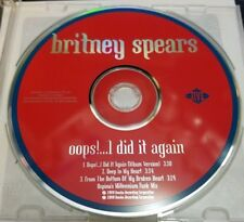 Britney Spears Oops!...I Did It Again CD Single, 2000, CD Only! Very Good Condit