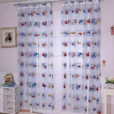 Cartoon Curtain Baby Kid Living Room  Finished Printed Car Pattern Tulle Curtain