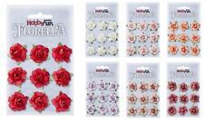9 Rosen Blüten aus Maulbeerpapier 3 cm, Florella von Hobbyfun