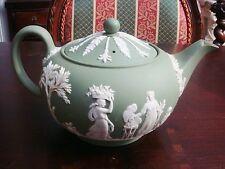 VINTAGE WEDGWOOD GREEN JASPERWARE tea pot glazed inside as is [4*-2]