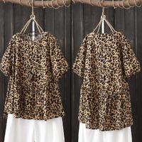 ZANZEA Women Short Sleeve Leopard Print T-Shirt Tops Loose Tee Shirt Blouse Plus