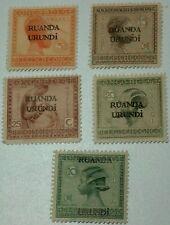 "Lot of 5 different Belgium Congo postal stamps overprint ""Ruanda Urundi"" Mint"