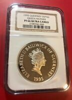 1995 GUERNSEY S5PND QUEEN MOTHER NGC PF 66 ULTRA CAMEO